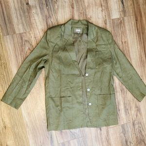 VINTAGE: blazer, linen, tan, monsoon, small